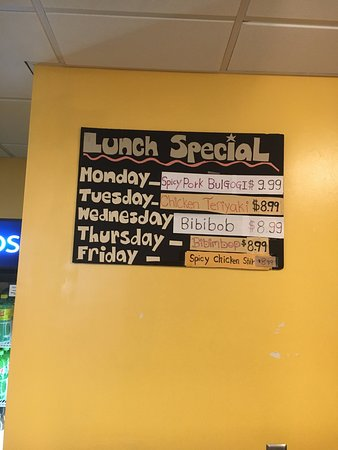 Reston, VA: Weekly Lunch Specials (prices may change)