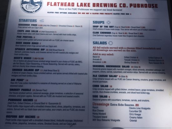Flathead Lake Brewing Co: Menu
