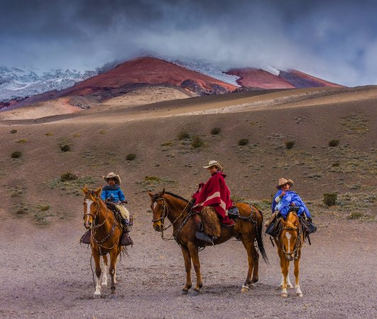 Let's Go to Ecuador: Cowboy family on vacation in the Cotopaxi Volcanic National Park outside of Quito, Ecuador