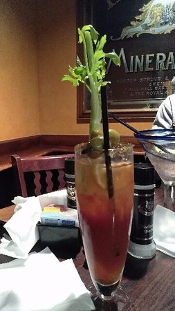 Secaucus, NJ: A bloody with 3 olives ,celery and i think sweet pepper .Nice