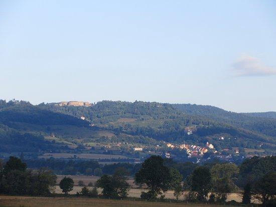 """Nowa Ruda, Polska: distance view of neareby """"Srebrna Gora"""" fortress"""
