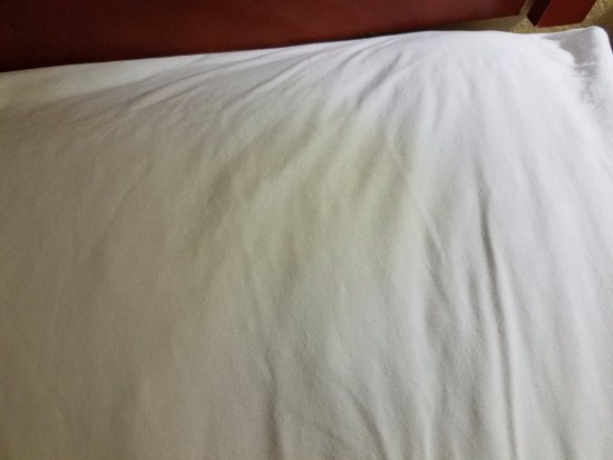 Hampton Inn Tucson-North : Stain on sheet under pillow:moved pillows around to try to get comfortable &found this!