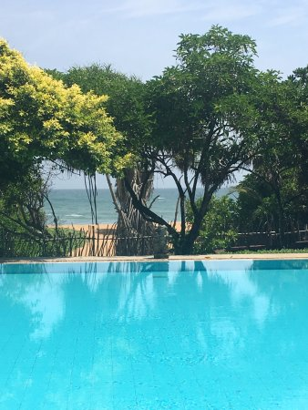 Aditya: view from the main hotel of the main pool and the sea beyond