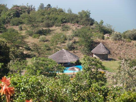 Lake Elementaita, Quênia: An aerial view of the  swimming pool area at Sunbird Lodge.