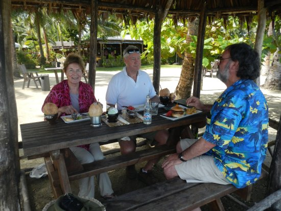 Upolu, Samoa: On the waters edge being serve an excellent meal.  One of Samoa's best