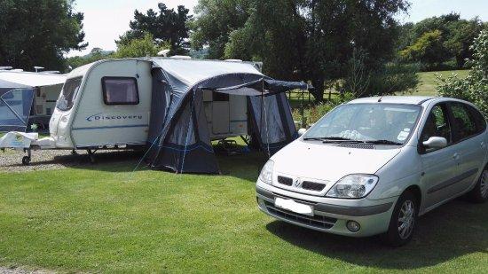 Wroxall, UK: Caravan pitch in Bluebell Meadow