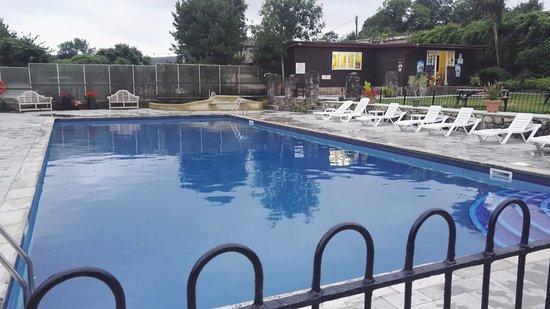 Wroxall, UK: Heated outdoor swimming pool area