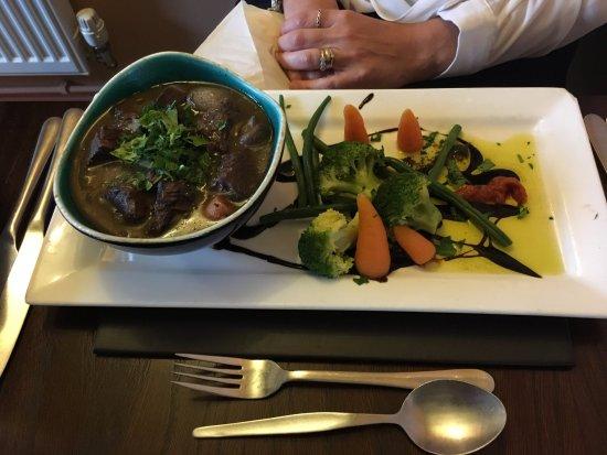 Queen Camel, UK: beef bourguignon, simply delicious