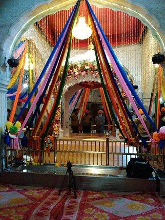 Mohali, India: Inside - Gurudwara Amb Sahib during annual function celebrations