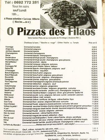 La Saline les Bains, Reunion Island: voici notre carte , bon appétit !!