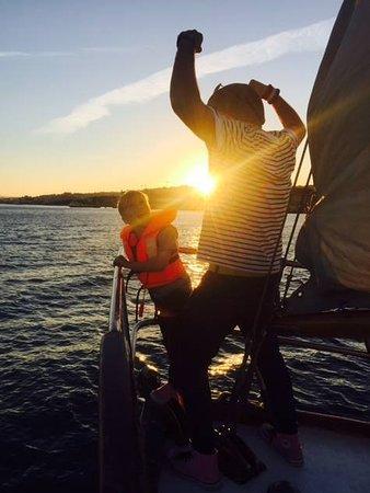 Halcyon I Lisbon Boat Tours: Celebrating the sunset in demure fashion.