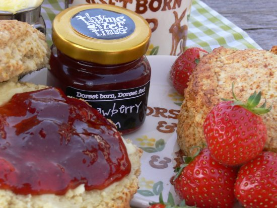 Sturminster Newton, UK: Cream tea at Thyme after time Cafe with our own strawberry jam and Dorset clotted cream