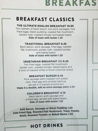 Greater Manchester, UK: Grain Loft Manchester Airport Terminal 1 - details of their breakfast menu