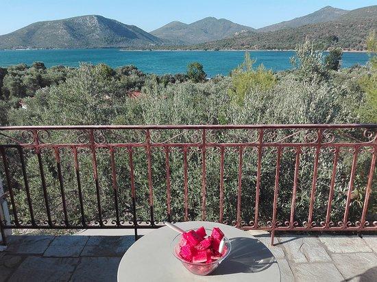 Gera, Yunanistan: Uitzicht over de baai