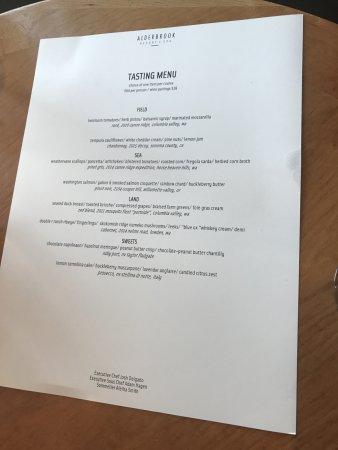 ยูเนียน, วอชิงตัน: Tasting menu, mid-August 2017