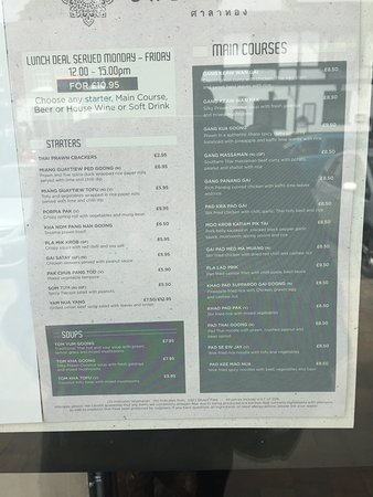 Stevenage, UK: Menu