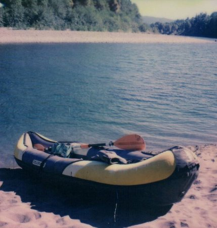 Alfred A Loeb State Park: My kayak on the banks of the Chetco