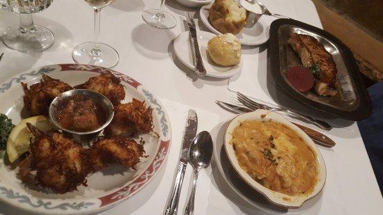 Rice Lake, WI: Coconut Shrimp, Potatoes au Gratin, New York Strip steak with baked potato