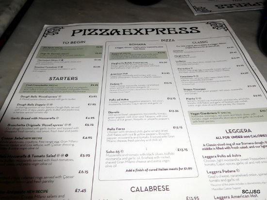 Pizza Express Menu Picture Of Pizza Express Southampton