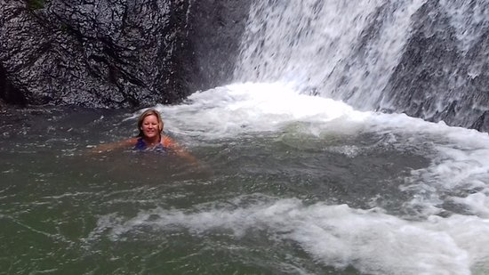 Miramar, Costa Rica: Taking a swim break in the waterfall pool (14' deep)