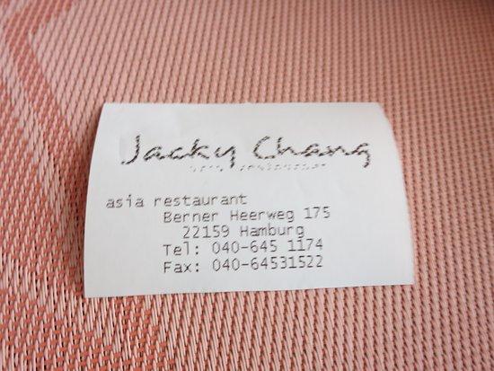 Zettel Als Ersatz Für Visitenkarte Picture Of Jacky Chang