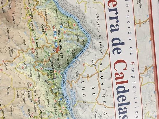 Castro Caldelas, Espagne : Folleto Castillo y Mapa de la zona