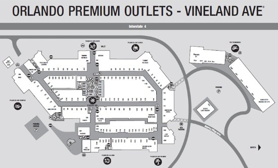 5919a9fc37 mapa do shopping - Picture of Orlando Vineland Premium Outlets ...