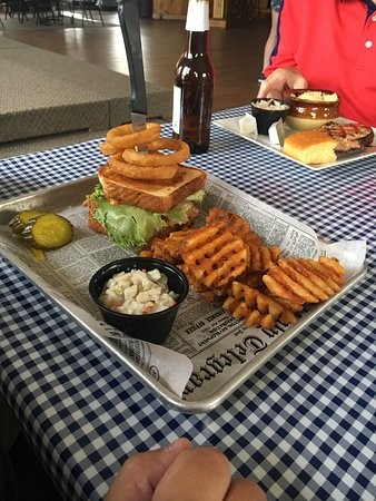 Milton, WI: Boom boom shrimp and crab with waffle fries and coleslaw