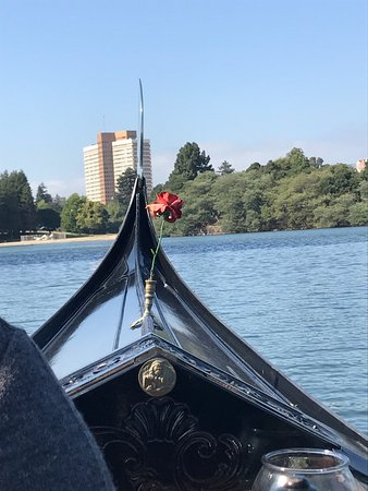 Oakland, CA: This is the view looking forward over the bow of the genuine gondola made up of (8) different wo
