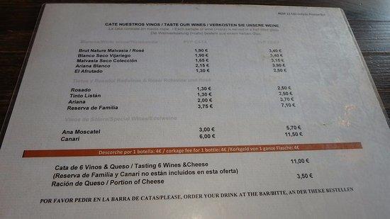 San Bartolome, Spagna: Precios de cata de vinos.