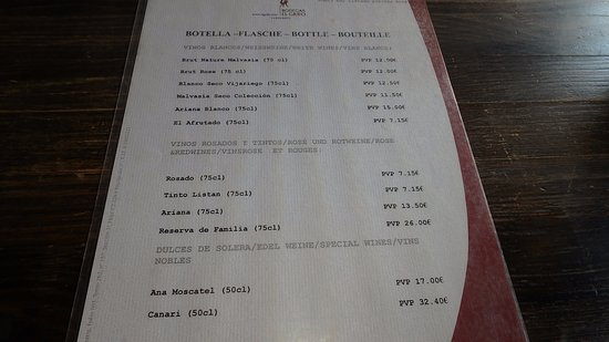 San Bartolome, Hiszpania: Precios de las botellas.