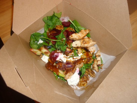 Corner Burger: Grilled beet salad, with grilled chicken.