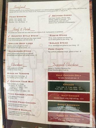 Thelma's Downtown: Thelma's menu