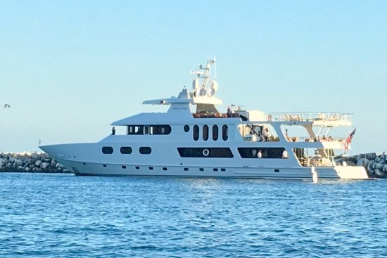 DANA POINT HARBOR, CA, a Beautiful Yacht leaving the Harbor at 🌅!