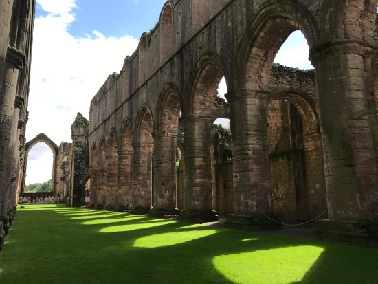 Ripon, UK: Sunlight offers dramatic shadows among the ruins