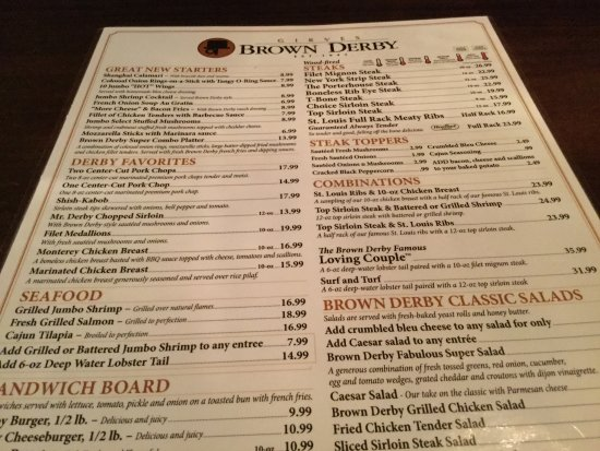 Streetsboro, OH: The Original Brown Derby Roadhouse (Menu).