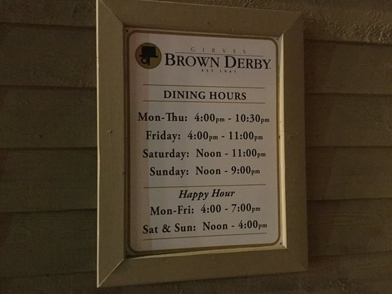 Streetsboro, OH: The Original Brown Derby Roadhouse (Dining Hours).