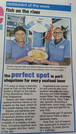 Port Shepstone, South Africa: Ad for Restuarant of the week