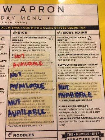 Yellow Apron Restaurant Menu