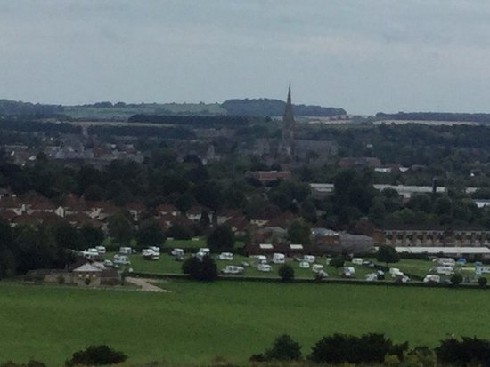 Salisbury, UK: View of Replacement Sailisbury Cathedral from Castle mound