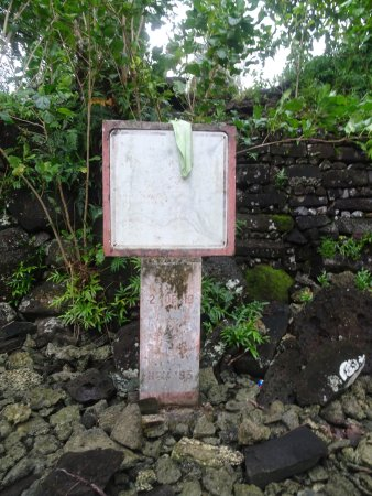 Kosrae, Micronesia: Sun-bleached sign, Lelu archaeolgical site