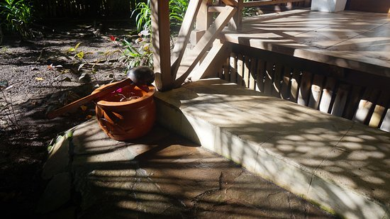 Siladen Island, Indonesia: Water bowl and ladle for foot washing