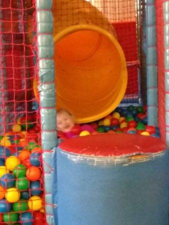 King's Lynn, UK: Worn & shabby soft play area equipment