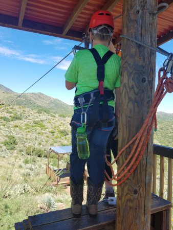 Oracle, AZ: Getting safety instruction at each location of the 5 zip lines