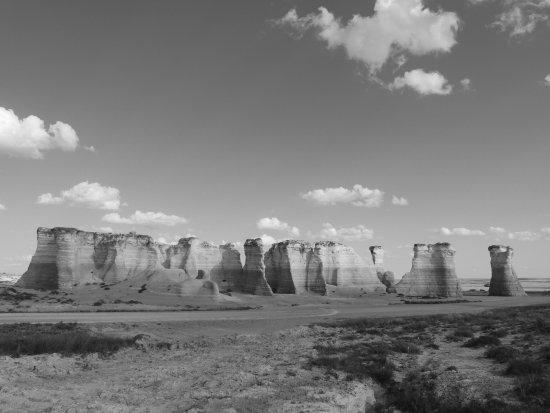 Oakley, KS: Monument Rocks, Black and White.