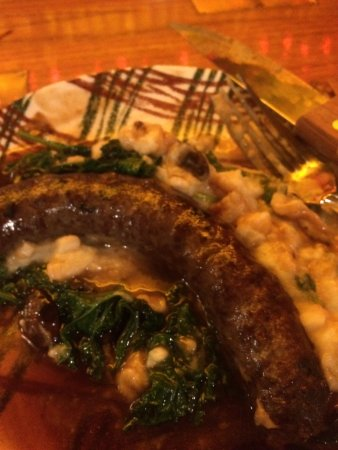 Montgomery Center, VT: Local venison 'bangers' and mash