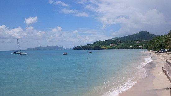 Hillsborough beach from terrace (Grenadine island of Union in distance)