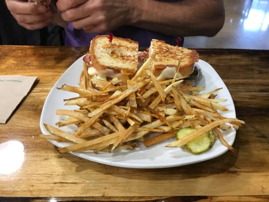 Bay City, MI: Triple grilled cheese with french fries and grilled chicken salad