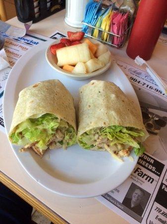 Port Saint Lucie, FL: Caesar Salad Grilled Chicken Wrap with Side of Fresh Fruit