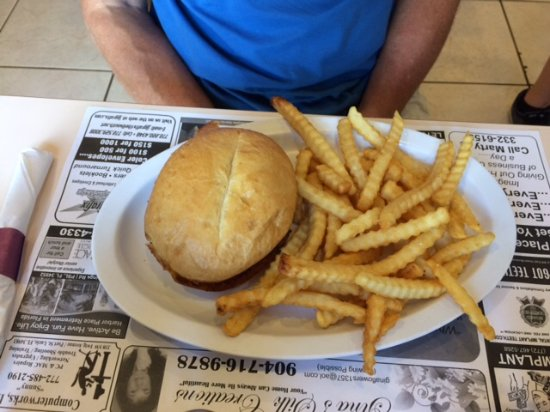 Port Saint Lucie, FL: Pulled Pork on a toast bun with crinkle cut fries (special of the day)